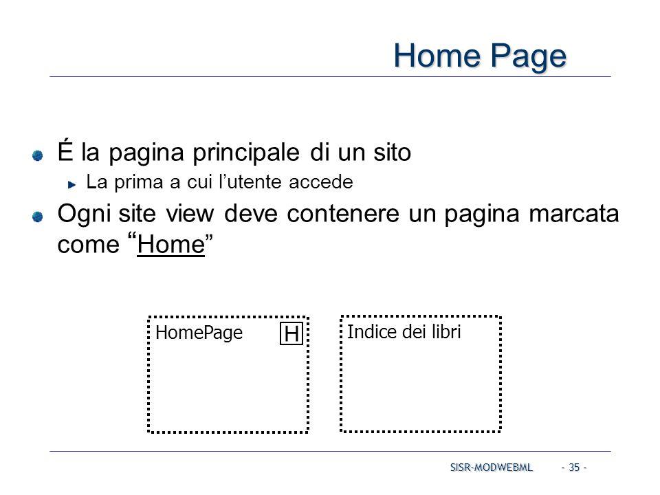 """SISR-MODWEBML - 35 - Home Page É la pagina principale di un sito La prima a cui l'utente accede Ogni site view deve contenere un pagina marcata come """""""