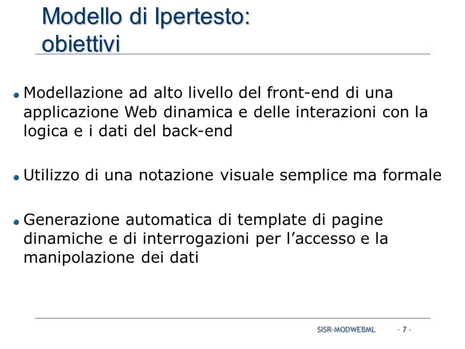 SISR-MODWEBML - 7 - Modello di Ipertesto: obiettivi Modellazione ad alto livello del front-end di una applicazione Web dinamica e delle interazioni co