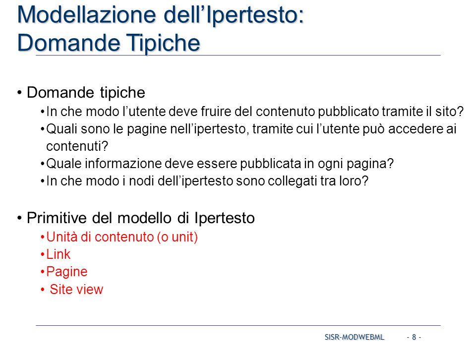 SISR-MODWEBML - 39 - Esempio Modellazione delle site view Due site view sullo stesso schema dei dati Customer: pubblica, per i clienti Admin: privata, per amministratori e gestori di contenuto CASO DI STUDIO