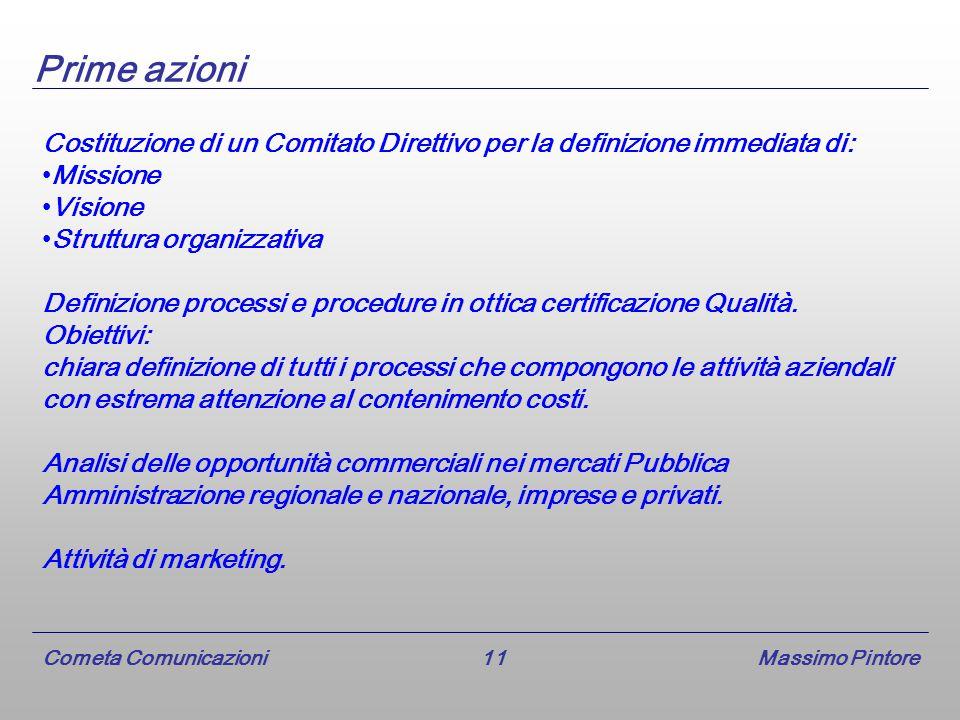 Cometa Comunicazioni 11 Massimo Pintore Prime azioni Costituzione di un Comitato Direttivo per la definizione immediata di: Missione Visione Struttura organizzativa Definizione processi e procedure in ottica certificazione Qualità.