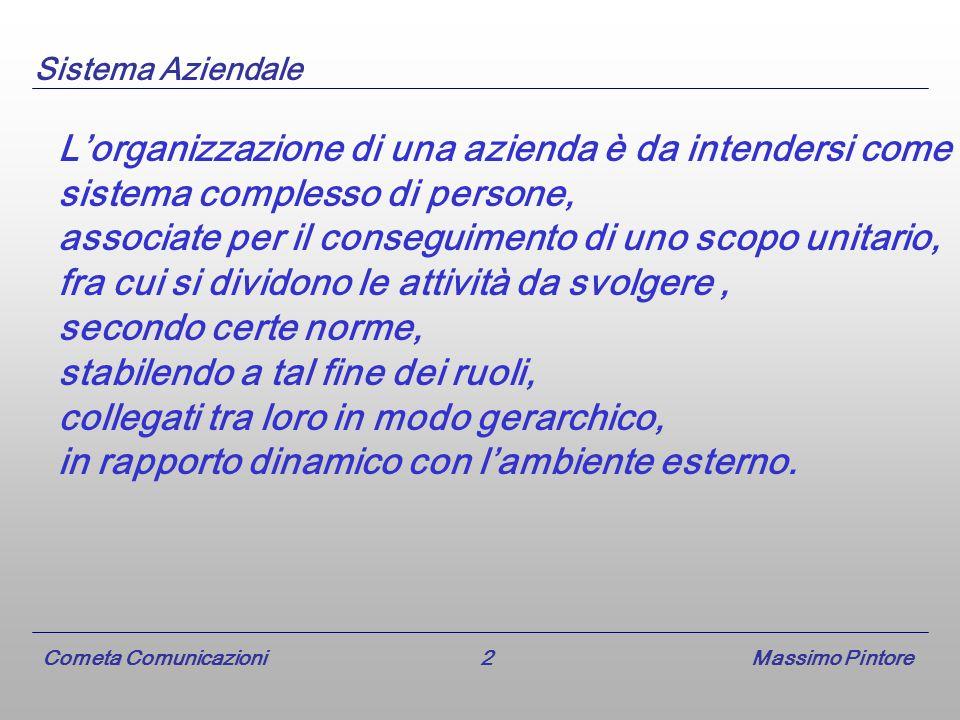 Cometa Comunicazioni 2 Massimo Pintore L'organizzazione di una azienda è da intendersi come sistema complesso di persone, associate per il conseguimento di uno scopo unitario, fra cui si dividono le attività da svolgere, secondo certe norme, stabilendo a tal fine dei ruoli, collegati tra loro in modo gerarchico, in rapporto dinamico con l'ambiente esterno.