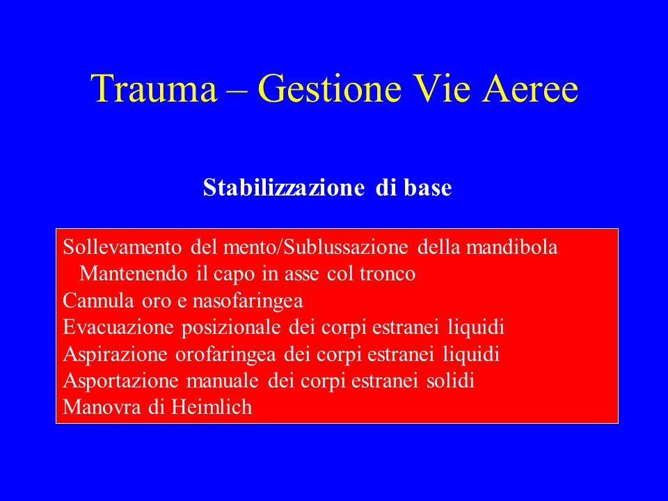 Trauma – Gestione Vie Aeree Stabilizzazione di base Sollevamento del mento/Sublussazione della mandibola Mantenendo il capo in asse col tronco Cannula
