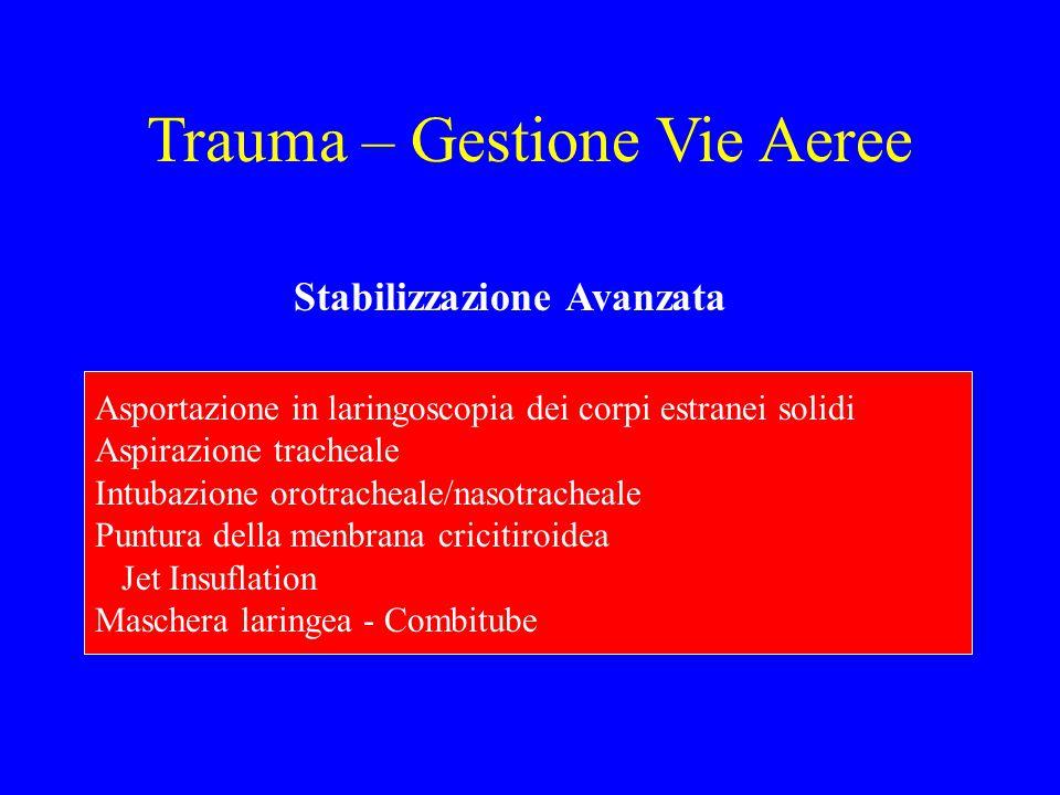 Trauma – Gestione Vie Aeree Stabilizzazione Avanzata Asportazione in laringoscopia dei corpi estranei solidi Aspirazione tracheale Intubazione orotrac