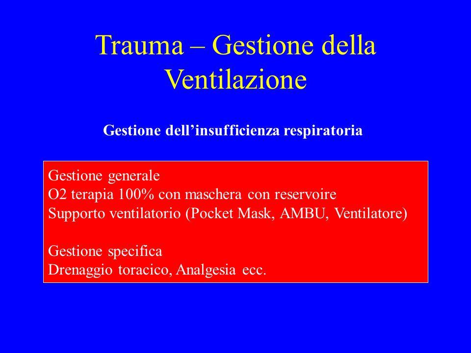 Trauma – Gestione della Ventilazione Gestione dell'insufficienza respiratoria Gestione generale O2 terapia 100% con maschera con reservoire Supporto v