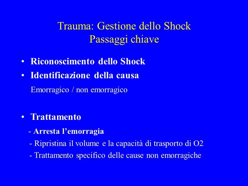 Trauma: Gestione dello Shock Passaggi chiave Riconoscimento dello Shock Identificazione della causa Emorragico / non emorragico Trattamento - Arresta