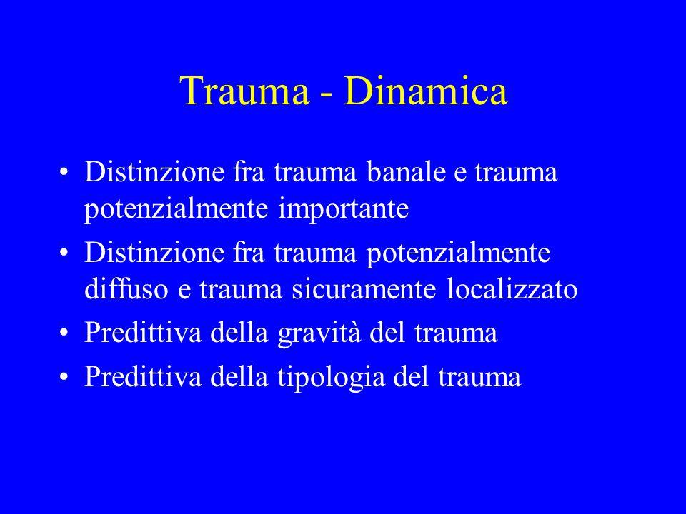 Trauma - Dinamica Distinzione fra trauma banale e trauma potenzialmente importante Distinzione fra trauma potenzialmente diffuso e trauma sicuramente