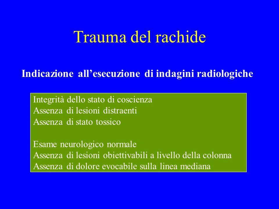 Trauma del rachide Indicazione all'esecuzione di indagini radiologiche Integrità dello stato di coscienza Assenza di lesioni distraenti Assenza di sta