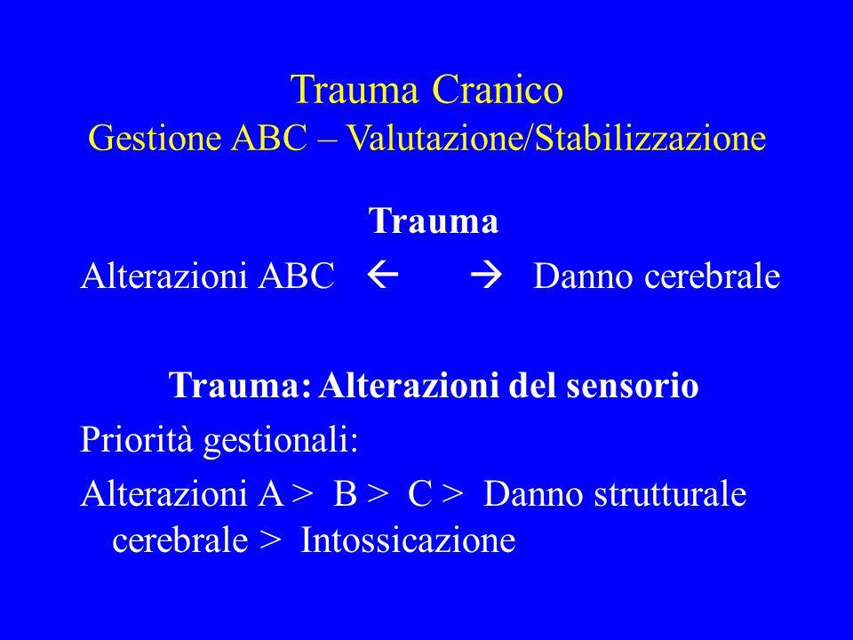 Trauma Cranico Gestione ABC – Valutazione/Stabilizzazione Trauma Alterazioni ABC   Danno cerebrale Trauma: Alterazioni del sensorio Priorità gestion