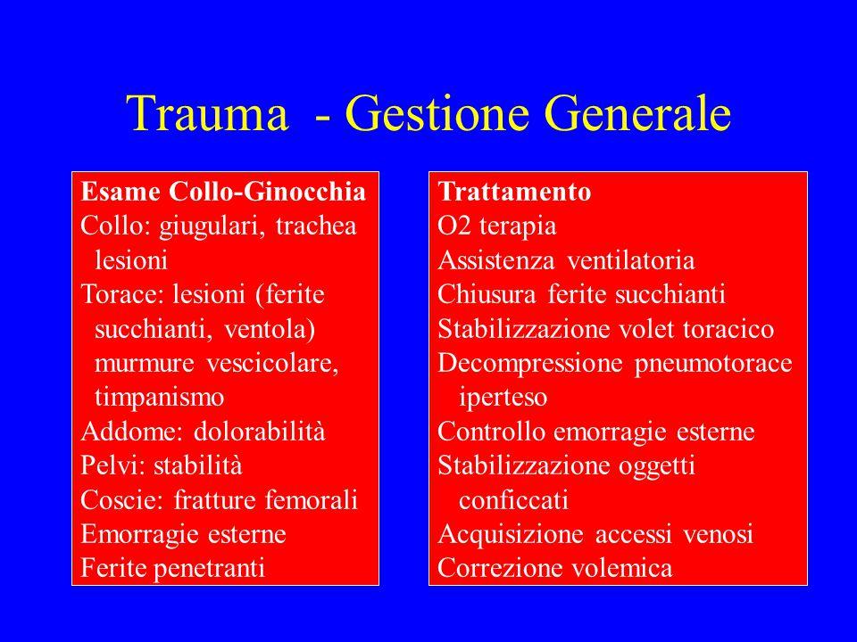 Trauma - Gestione Generale Esame Collo-Ginocchia Collo: giugulari, trachea lesioni Torace: lesioni (ferite succhianti, ventola) murmure vescicolare, t