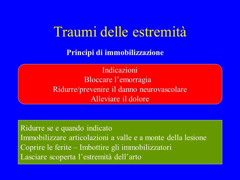 Traumi delle estremità Principi di immobilizzazione Indicazioni Bloccare l'emorragia Ridurre/prevenire il danno neurovascolare Alleviare il dolore Rid