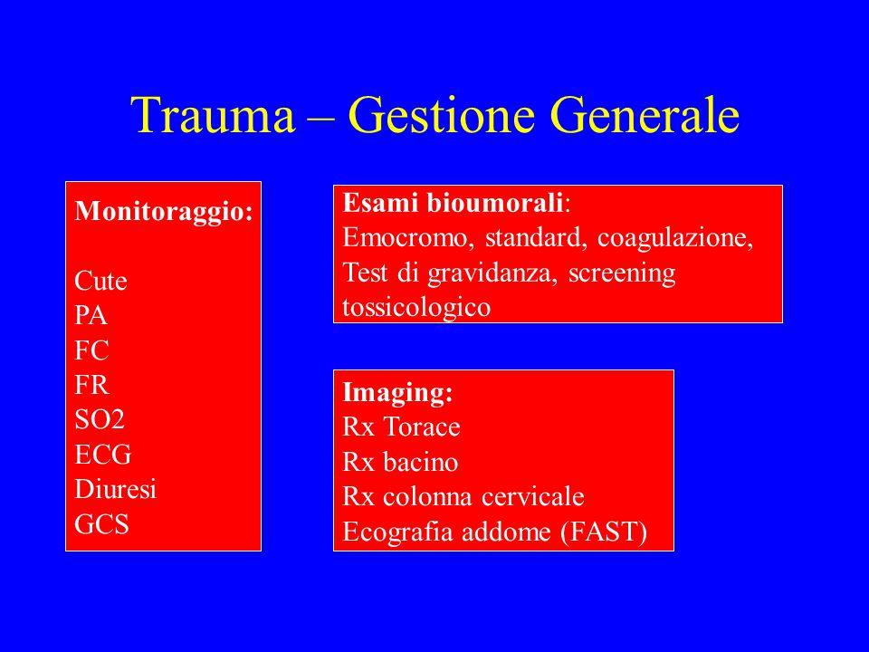Trauma – Gestione Generale Monitoraggio: Cute PA FC FR SO2 ECG Diuresi GCS Esami bioumorali: Emocromo, standard, coagulazione, Test di gravidanza, scr