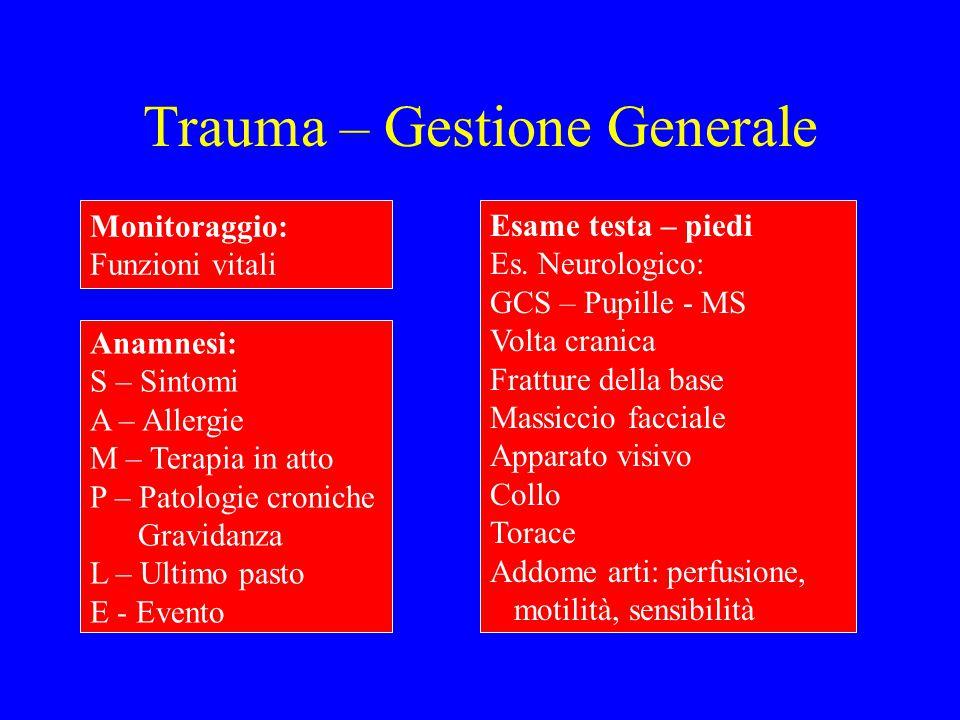 Trauma – Gestione Generale Anamnesi: S – Sintomi A – Allergie M – Terapia in atto P – Patologie croniche Gravidanza L – Ultimo pasto E - Evento Monito