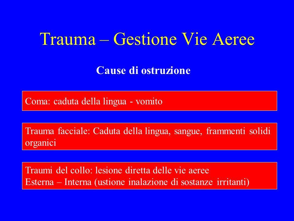 Trauma – Gestione Vie Aeree Cause di ostruzione Coma: caduta della lingua - vomito Trauma facciale: Caduta della lingua, sangue, frammenti solidi orga