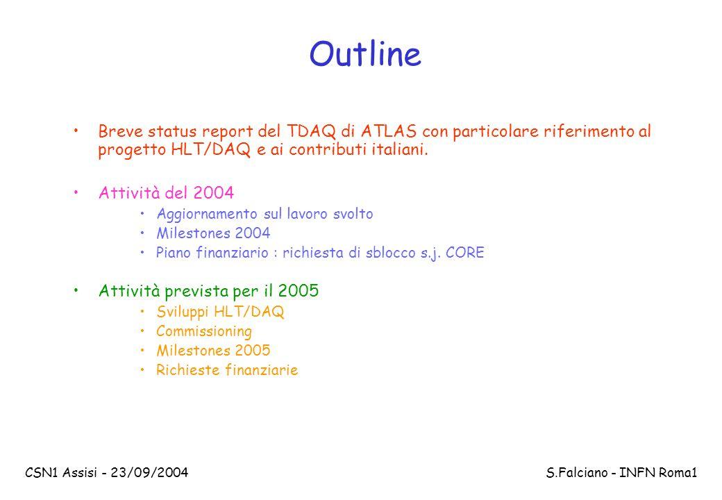 CSN1 Assisi - 23/09/2004 S.Falciano - INFN Roma1 Criteri per la scelta del profilo temporale di spesa Abbiamo disegnato un sistema che evolve in funzione delle risorse disponibili, che va da un sistema iniziale con una rate massima di LVL1 di circa 40 kHz ad uno finale con una rate massima di 100 kHz 2004 : Acquisto e messa in opera della pre-serie fatta con le componenti finali del TDAQ (commissioning del Tile?) 2005 : Inizia il commissioning dei detector e di HLT/DAQ.