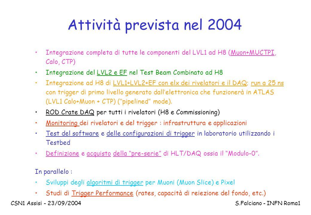 CSN1 Assisi - 23/09/2004 S.Falciano - INFN Roma1 Attività svolta nel 2004 Per quanto riguarda il trigger di muoni di Livello-1 nel barrel, nel 2004 sono stati prodotti e collaudati i prototipi finali delle PADs, e iniziata la produzione finale delle Splitter boards, e stato realizzato, collaudato e integrato il prototipo finale di Link ottico e infine completato il disegno finale della Sector Logic e del ROD backplane.