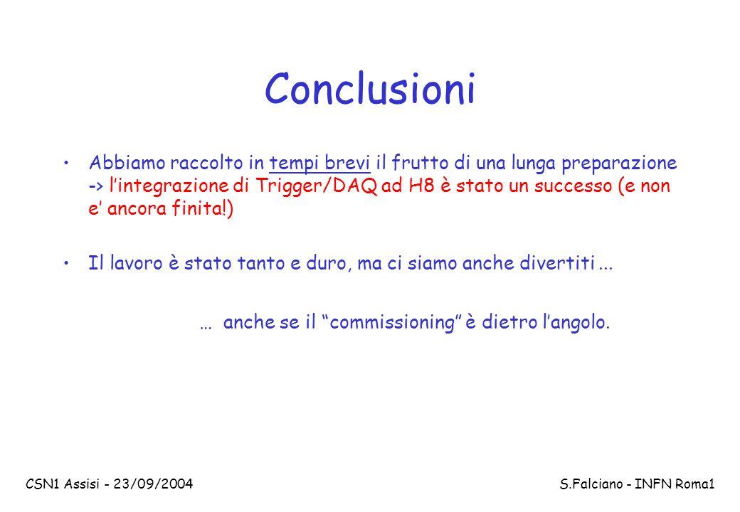 CSN1 Assisi - 23/09/2004 S.Falciano - INFN Roma1 Conclusioni Abbiamo raccolto in tempi brevi il frutto di una lunga preparazione -> l'integrazione di Trigger/DAQ ad H8 è stato un successo (e non e' ancora finita!) Il lavoro è stato tanto e duro, ma ci siamo anche divertiti...