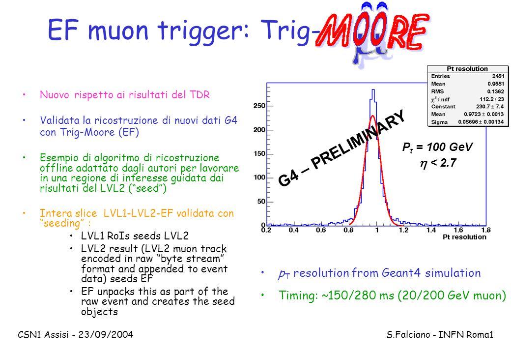 CSN1 Assisi - 23/09/2004 S.Falciano - INFN Roma1 EF muon trigger: Trig- P t = 100 GeV  < 2.7 G4 – PRELIMINARY Nuovo rispetto ai risultati del TDR Val
