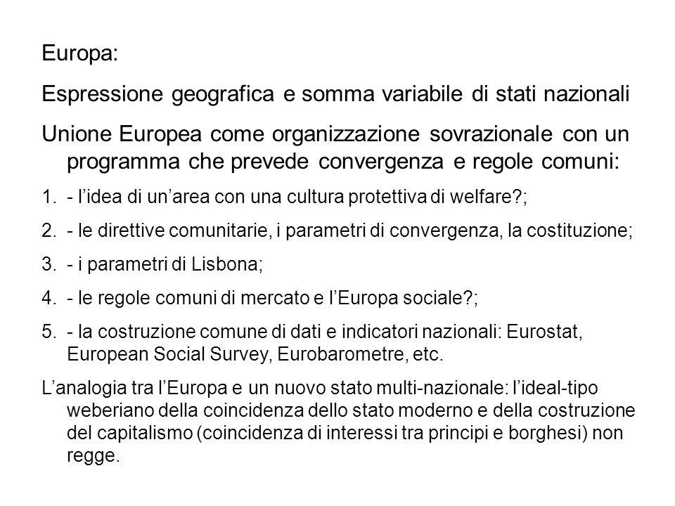 Europa: Espressione geografica e somma variabile di stati nazionali Unione Europea come organizzazione sovrazionale con un programma che prevede conve