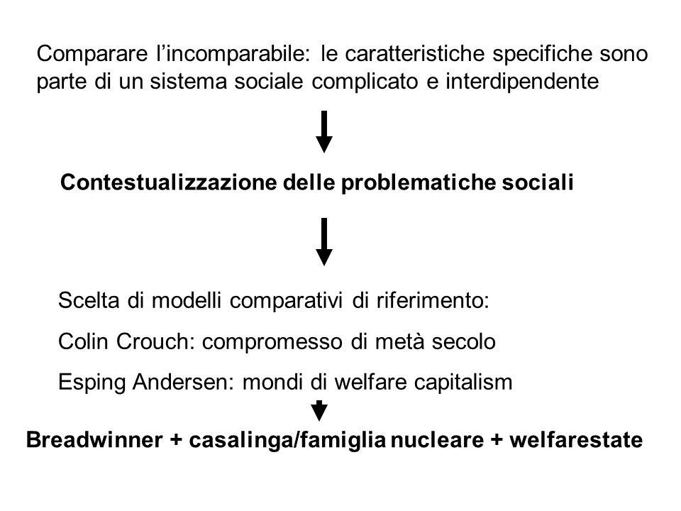 Comparare l'incomparabile: le caratteristiche specifiche sono parte di un sistema sociale complicato e interdipendente Contestualizzazione delle probl