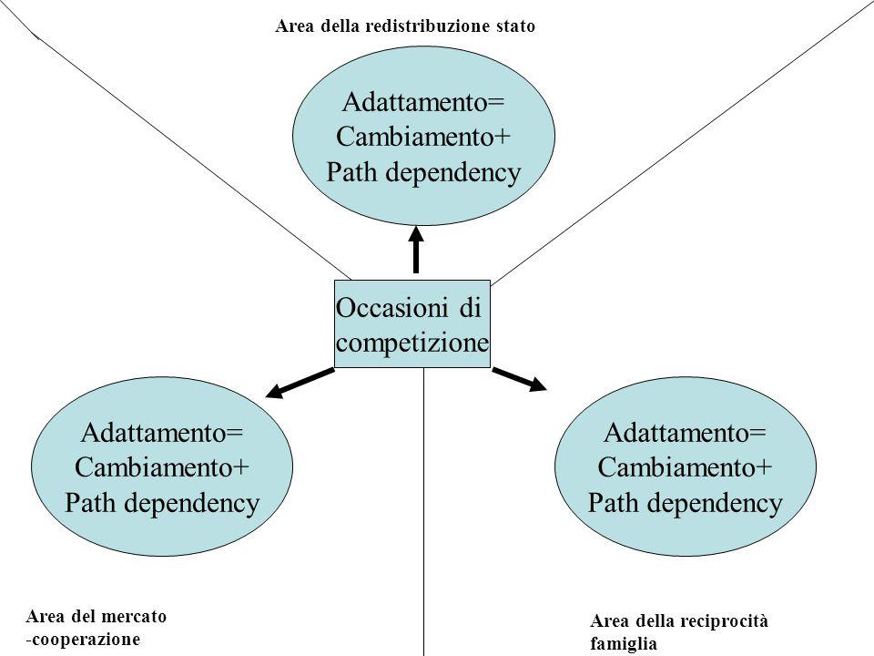 Area della redistribuzione stato Area del mercato -cooperazione Area della reciprocità famiglia Occasioni di competizione Adattamento= Cambiamento+ Pa