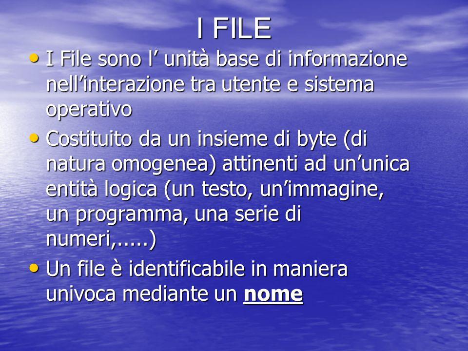 I FILE I File sono l' unità base di informazione nell'interazione tra utente e sistema operativo I File sono l' unità base di informazione nell'interazione tra utente e sistema operativo Costituito da un insieme di byte (di natura omogenea) attinenti ad un'unica entità logica (un testo, un'immagine, un programma, una serie di numeri,.....) Costituito da un insieme di byte (di natura omogenea) attinenti ad un'unica entità logica (un testo, un'immagine, un programma, una serie di numeri,.....) Un file è identificabile in maniera univoca mediante un nome Un file è identificabile in maniera univoca mediante un nome