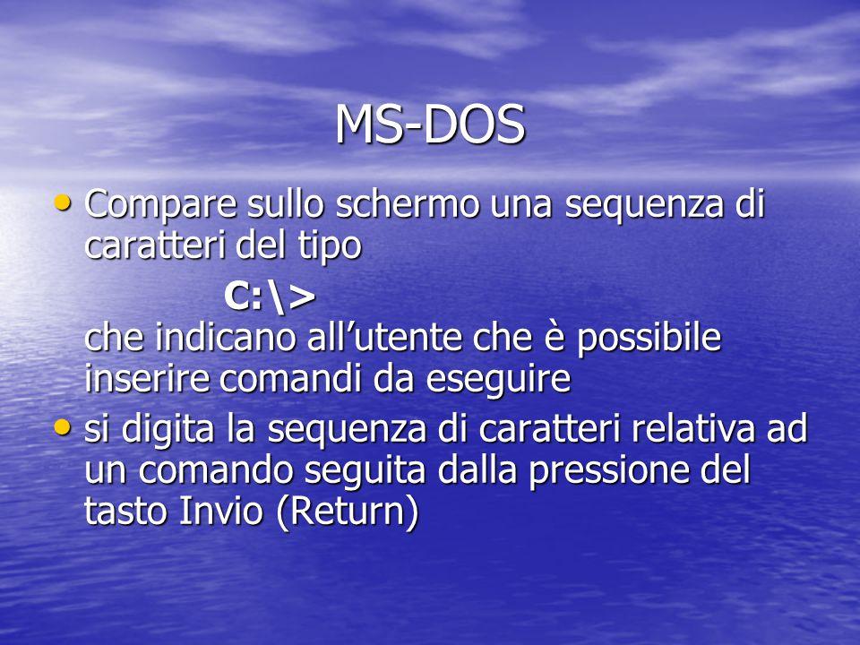 MS-DOS Sistema operativo dei PC IBM compatibili Sistema operativo dei PC IBM compatibili Interazione di tipo testuale Interazione di tipo testuale Alla base delle prime versioni di Windows Alla base delle prime versioni di Windows Utilizzabile da Windows con Utilizzabile da Windows con – menù Avvio, voce Programmi, voce prompt di MS-DOS – menù Avvio e riavviare il sistema in modalità DOS