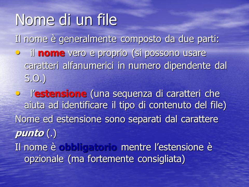 I file sono memorizzati su dispositivi di memoria secondaria (hard disk, floppy, CD) I file sono memorizzati su dispositivi di memoria secondaria (hard disk, floppy, CD) L'utente deve solo preoccuparsi di dare un nome ad un file (al momento della creazione) ed usarlo per le operazioni da eseguire su di esso L'utente deve solo preoccuparsi di dare un nome ad un file (al momento della creazione) ed usarlo per le operazioni da eseguire su di esso