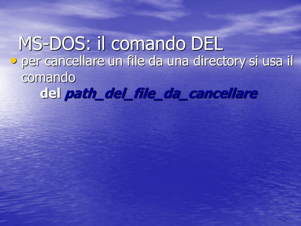 MS-DOS: il comando MOVE per spostare un file da una directory ad un'altra si usa il comando move path_del_file_da_spostare path_del_file_nuovo per spostare un file da una directory ad un'altra si usa il comando move path_del_file_da_spostare path_del_file_nuovo funziona come il comando copy ma in questo caso non si duplica un file ma lo si sposta solamente funziona come il comando copy ma in questo caso non si duplica un file ma lo si sposta solamente