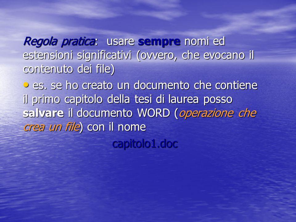 Nome di un file Il nome è generalmente composto da due parti: il nome vero e proprio (si possono usare caratteri alfanumerici in numero dipendente dal S.O.) il nome vero e proprio (si possono usare caratteri alfanumerici in numero dipendente dal S.O.) l'estensione (una sequenza di caratteri che aiuta ad identificare il tipo di contenuto del file) l'estensione (una sequenza di caratteri che aiuta ad identificare il tipo di contenuto del file) Nome ed estensione sono separati dal carattere punto (.) Il nome è obbligatorio mentre l'estensione è opzionale (ma fortemente consigliata)