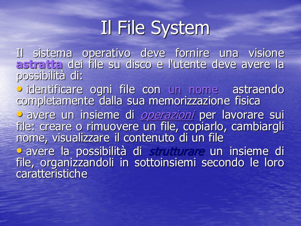 MS-DOS: il comando DIR In ogni directory sono presenti due directory speciali In ogni directory sono presenti due directory speciali – la directory stessa visualizzata con il . – la directory di livello immediatamente superiore nell'albero (detta anche directory padre) visualizzata con .. per visualizzare il contenuto di una directory diversa da quella corrente bisogna digitare C:\>dir path_della_directory_che_interessa es., dir a:\slide per visualizzare il contenuto di una directory diversa da quella corrente bisogna digitare C:\>dir path_della_directory_che_interessa es., dir a:\slide