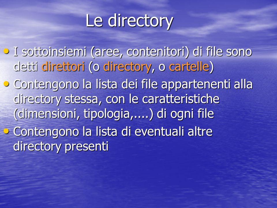 I sottoinsiemi (aree, contenitori) di file sono detti direttori (o directory, o cartelle) I sottoinsiemi (aree, contenitori) di file sono detti direttori (o directory, o cartelle) Contengono la lista dei file appartenenti alla directory stessa, con le caratteristiche (dimensioni, tipologia,....) di ogni file Contengono la lista dei file appartenenti alla directory stessa, con le caratteristiche (dimensioni, tipologia,....) di ogni file Contengono la lista di eventuali altre directory presenti Contengono la lista di eventuali altre directory presenti Le directory