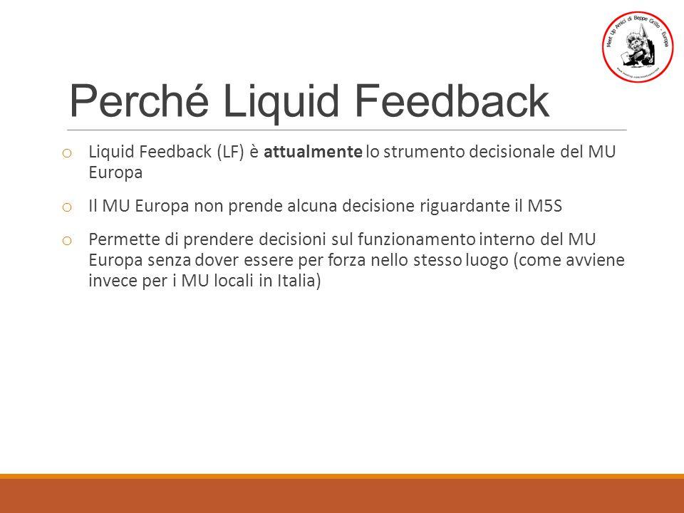 Perché Liquid Feedback o Liquid Feedback (LF) è attualmente lo strumento decisionale del MU Europa o Il MU Europa non prende alcuna decisione riguardante il M5S o Permette di prendere decisioni sul funzionamento interno del MU Europa senza dover essere per forza nello stesso luogo (come avviene invece per i MU locali in Italia)