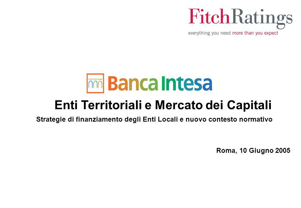 Enti Territoriali e Mercato dei Capitali Strategie di finanziamento degli Enti Locali e nuovo contesto normativo Roma, 10 Giugno 2005