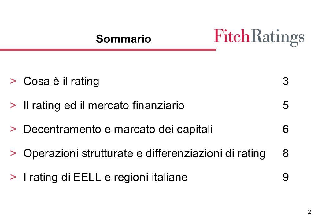 2 Sommario >Cosa è il rating3 >Il rating ed il mercato finanziario5 >Decentramento e marcato dei capitali6 >Operazioni strutturate e differenziazioni