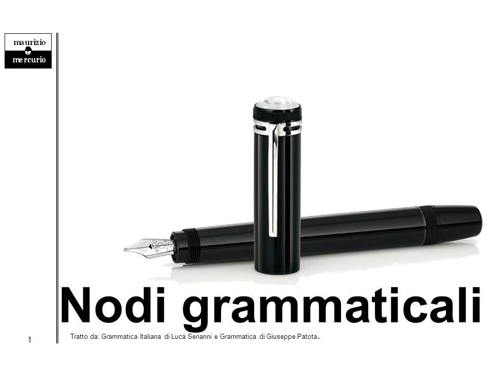 1 Nodi grammaticali Tratto da: Grammatica Italiana di Luca Serianni e Grammatica di Giuseppe Patota.