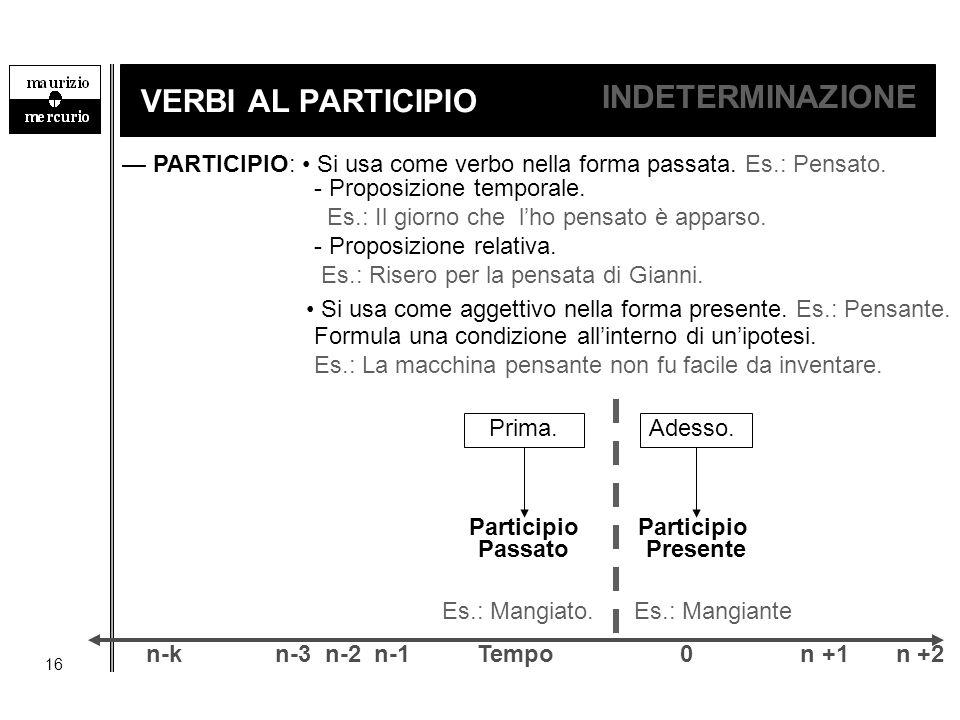 16 VERBI AL PARTICIPIO INDETERMINAZIONE — PARTICIPIO: Si usa come verbo nella forma passata. Es.: Pensato. Si usa come aggettivo nella forma presente.