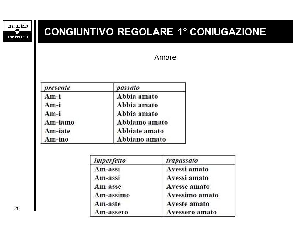20 CONGIUNTIVO REGOLARE 1° CONIUGAZIONE Amare