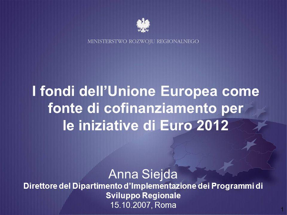 1 I fondi dell'Unione Europea come fonte di cofinanziamento per le iniziative di Euro 2012 Anna Siejda Direttore del Dipartimento d'Implementazione dei Programmi di Sviluppo Regionale 15.10.2007, Roma