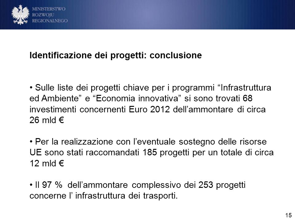 15 Identificazione dei progetti: conclusione Sulle liste dei progetti chiave per i programmi Infrastruttura ed Ambiente e Economia innovativa si sono trovati 68 investimenti concernenti Euro 2012 dell'ammontare di circa 26 mld € Per la realizzazione con l'eventuale sostegno delle risorse UE sono stati raccomandati 185 progetti per un totale di circa 12 mld € Il 97 % dell'ammontare complessivo dei 253 progetti concerne l' infrastruttura dei trasporti.