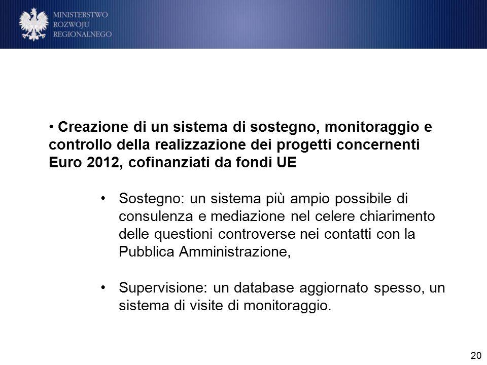 20 Creazione di un sistema di sostegno, monitoraggio e controllo della realizzazione dei progetti concernenti Euro 2012, cofinanziati da fondi UE Sost
