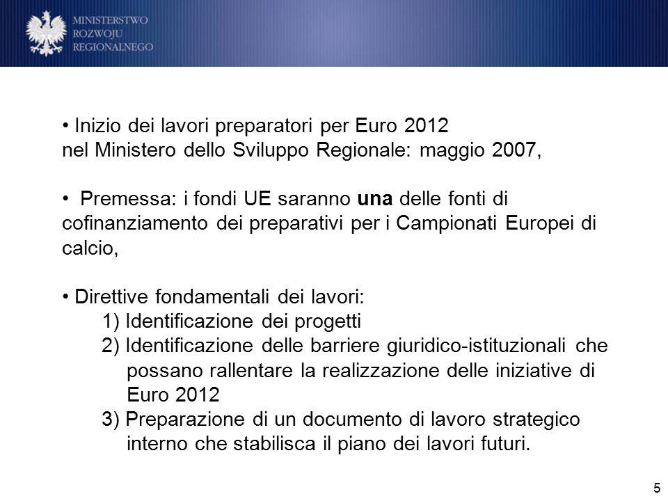 """6 Gruppi di lavoro tematici nominati dal MSR per l'identificazione delle iniziative di Euro 2012 1.stadi ed infrastrutture connesse, 2.turismo e promozione, 3.progetti """"morbidi e di sistema, 4.Infrastrutture di trasporto."""