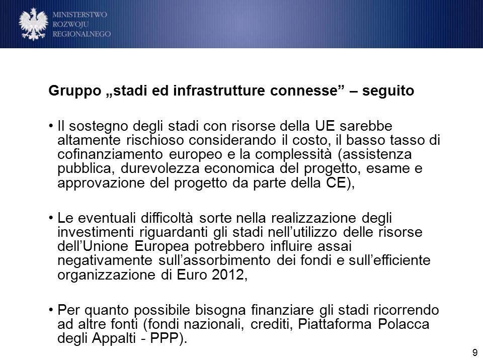 """9 Gruppo """"stadi ed infrastrutture connesse"""" – seguito Il sostegno degli stadi con risorse della UE sarebbe altamente rischioso considerando il costo,"""