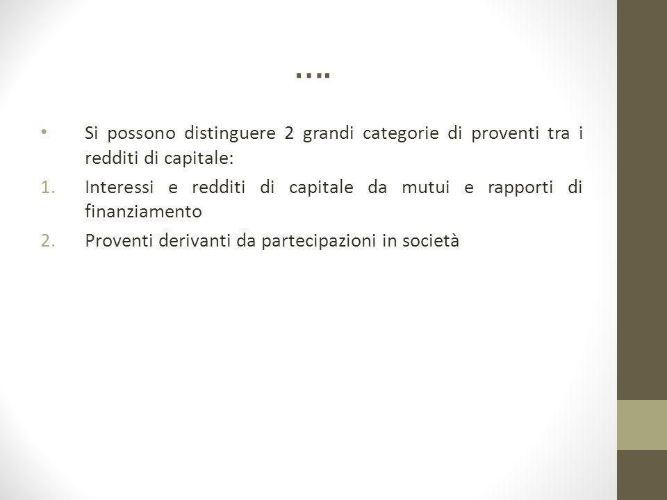 …. Si possono distinguere 2 grandi categorie di proventi tra i redditi di capitale: 1.Interessi e redditi di capitale da mutui e rapporti di finanziam