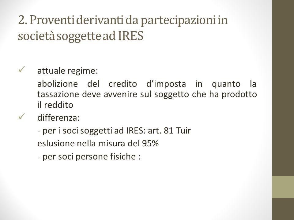 2. Proventi derivanti da partecipazioni in società soggette ad IRES attuale regime: abolizione del credito d'imposta in quanto la tassazione deve avve