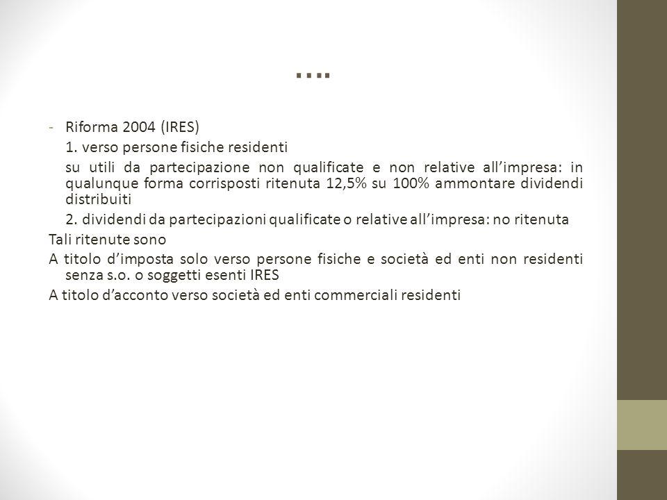 …. -Riforma 2004 (IRES) 1. verso persone fisiche residenti su utili da partecipazione non qualificate e non relative all'impresa: in qualunque forma c