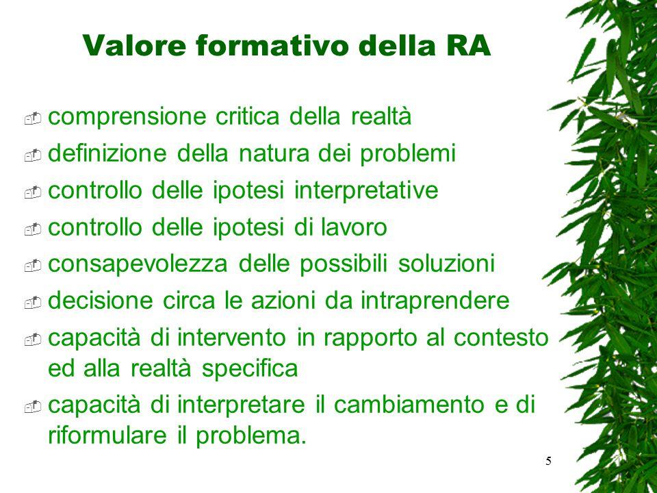 5 Valore formativo della RA  comprensione critica della realtà  definizione della natura dei problemi  controllo delle ipotesi interpretative  con