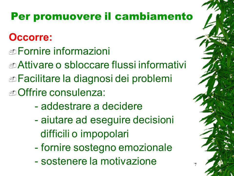 7 Per promuovere il cambiamento Occorre:  Fornire informazioni  Attivare o sbloccare flussi informativi  Facilitare la diagnosi dei problemi  Offr