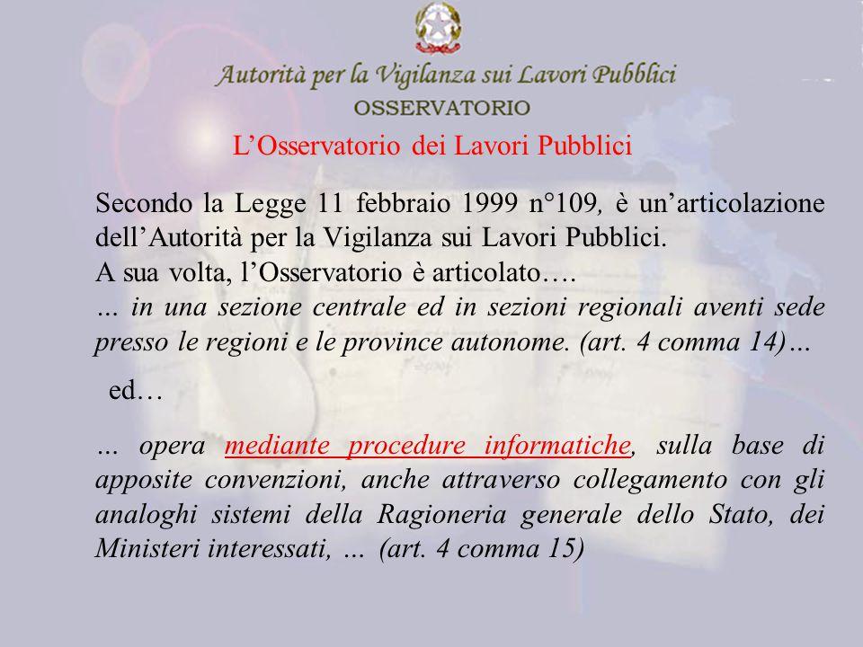Secondo la Legge 11 febbraio 1999 n°109, è un'articolazione dell'Autorità per la Vigilanza sui Lavori Pubblici.