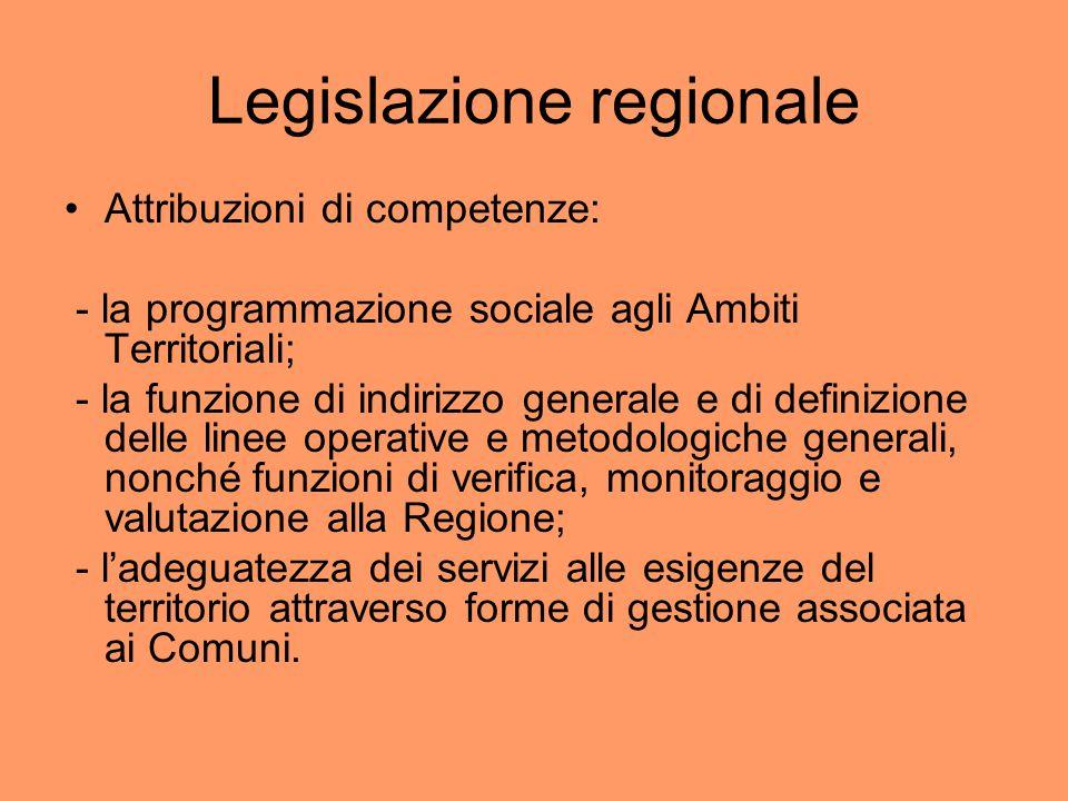 Legislazione regionale Attribuzioni di competenze: - la programmazione sociale agli Ambiti Territoriali; - la funzione di indirizzo generale e di defi