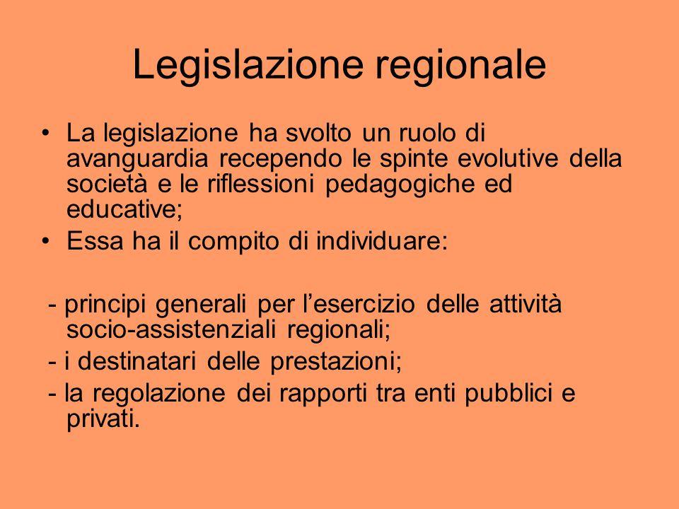 Legislazione regionale La legislazione ha svolto un ruolo di avanguardia recependo le spinte evolutive della società e le riflessioni pedagogiche ed e